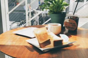 toast and coffee dip morning
